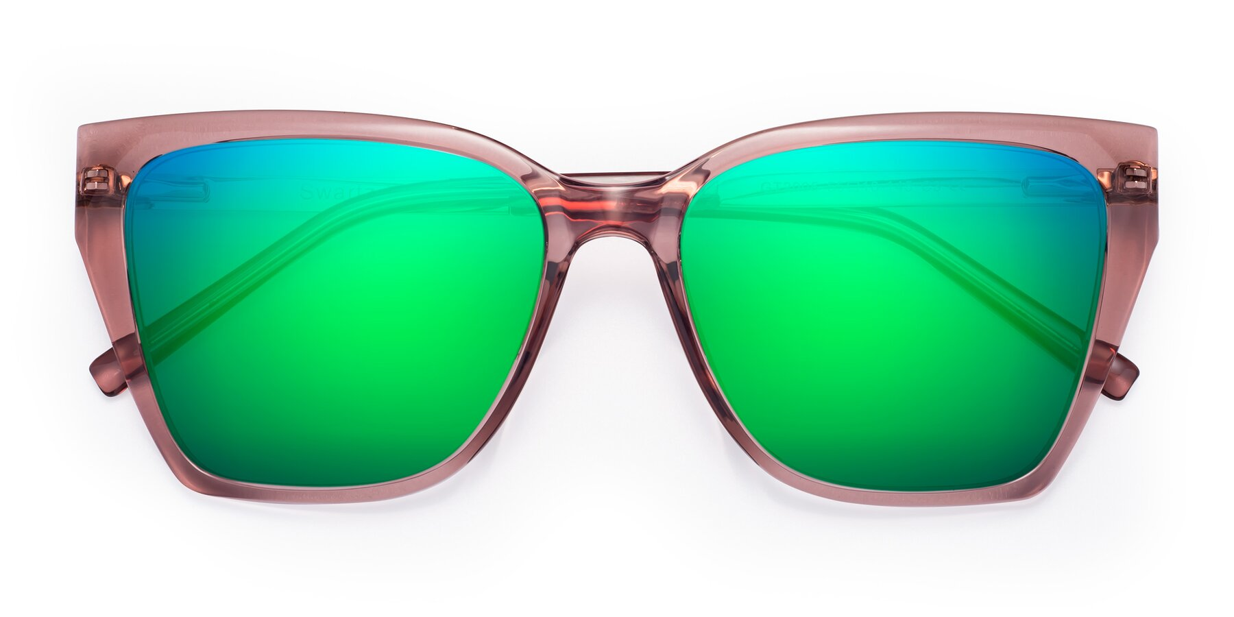 Folded Front of Swartz in Grape with Green Mirrored Lenses