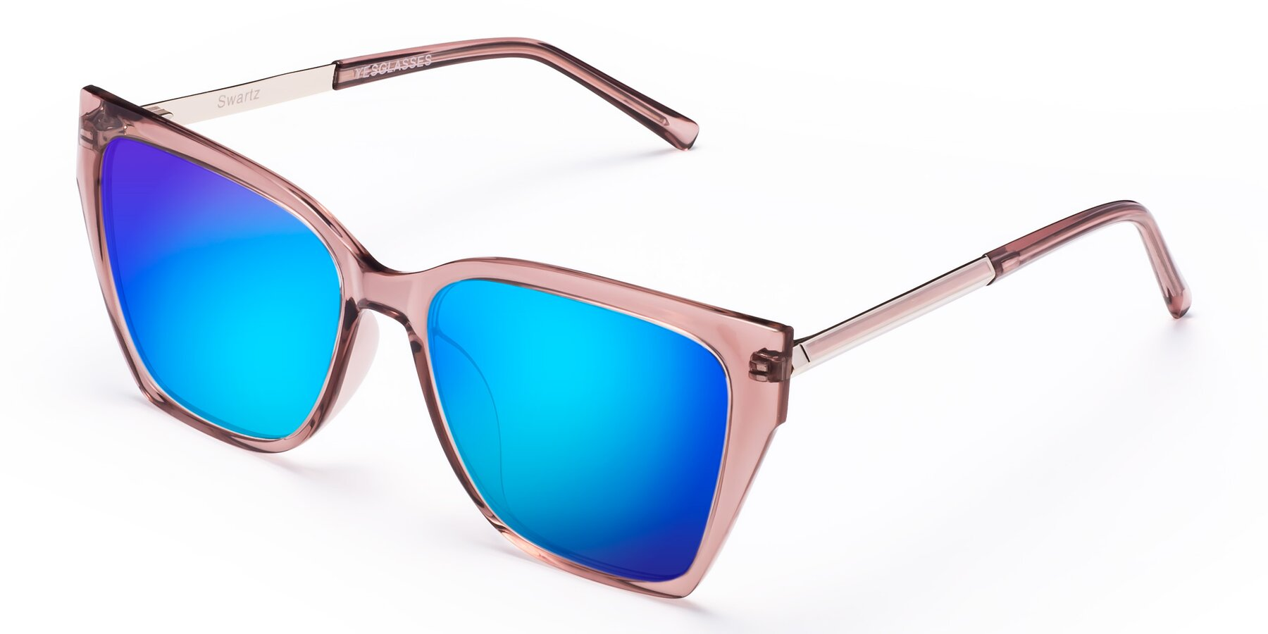 Angle of Swartz in Grape with Blue Mirrored Lenses