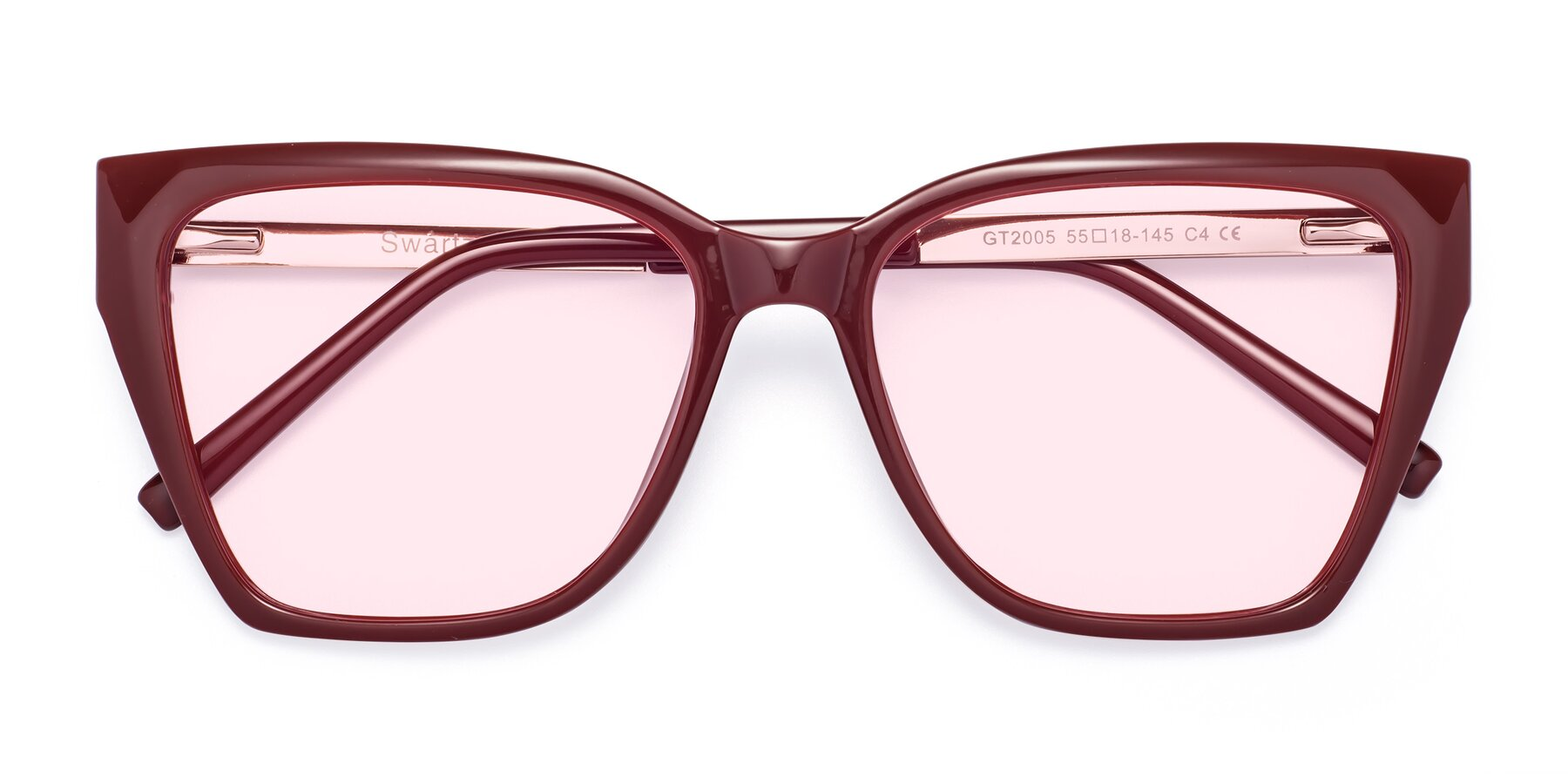 Folded Front of Swartz in Wine with Light Pink Tinted Lenses