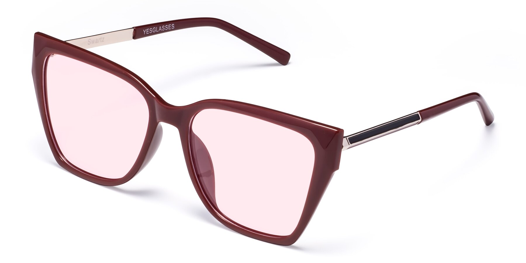 Angle of Swartz in Wine with Light Pink Tinted Lenses
