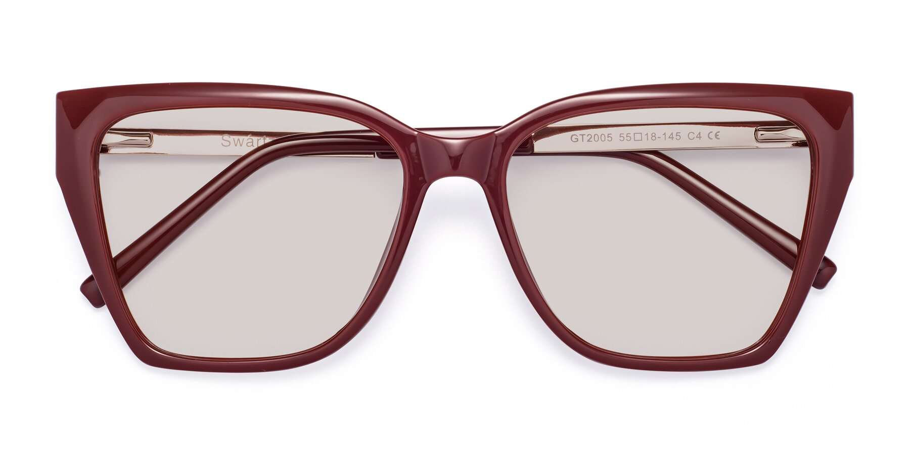 Folded Front of Swartz in Wine with Light Brown Tinted Lenses