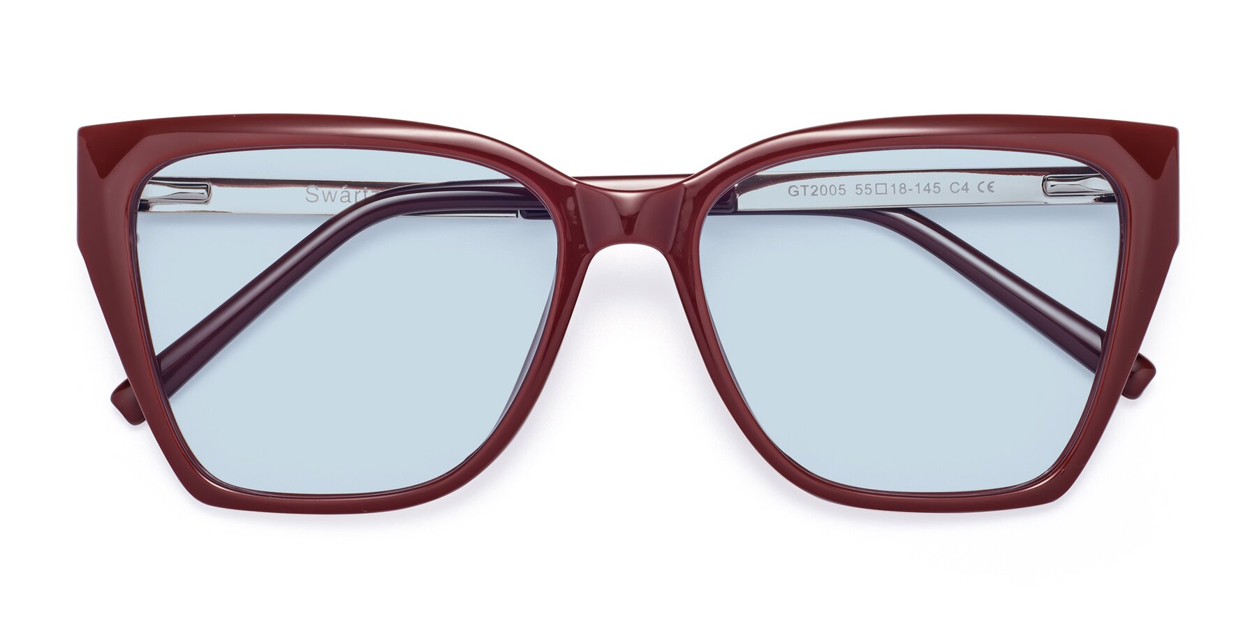 Folded Front of Swartz in Wine with Light Blue Tinted Lenses