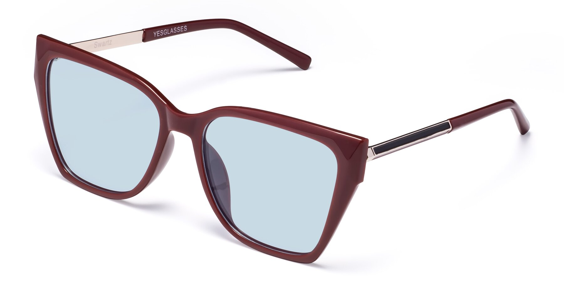 Angle of Swartz in Wine with Light Blue Tinted Lenses