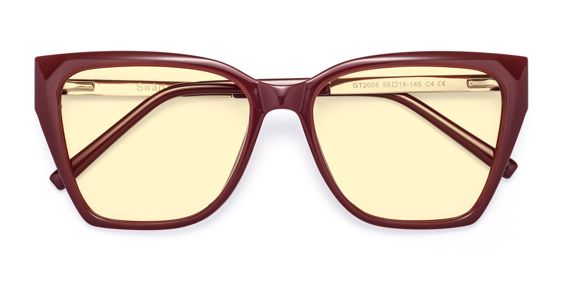Folded Front of Swartz in Wine with Light Yellow Tinted Lenses
