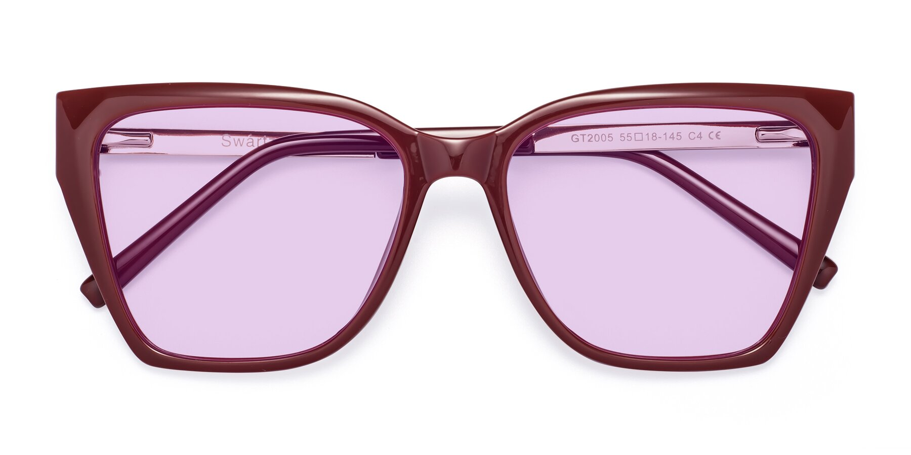 Folded Front of Swartz in Wine with Light Purple Tinted Lenses