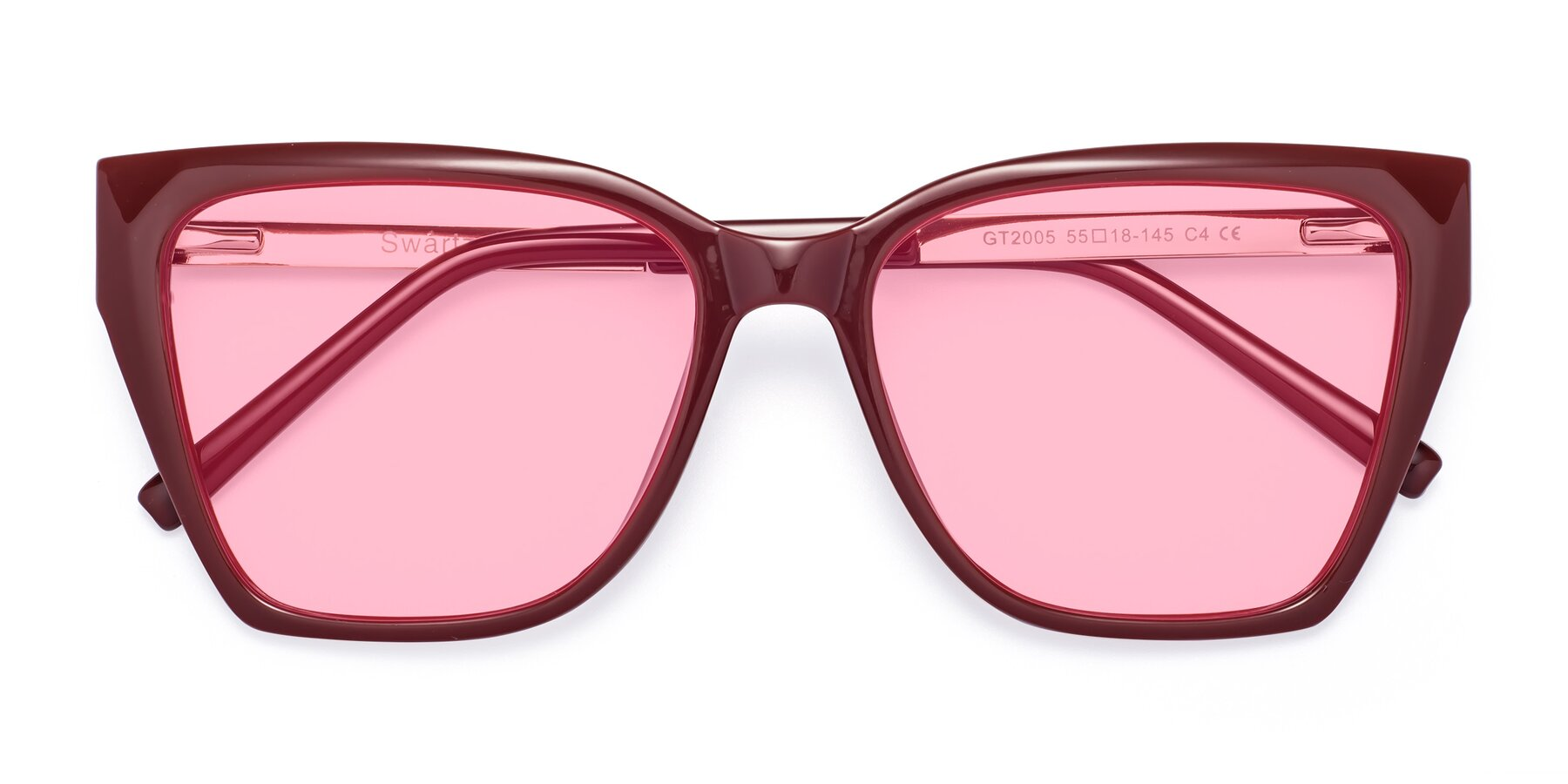 Folded Front of Swartz in Wine with Medium Pink Tinted Lenses