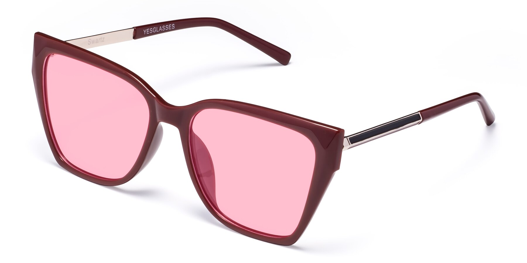 Angle of Swartz in Wine with Medium Pink Tinted Lenses