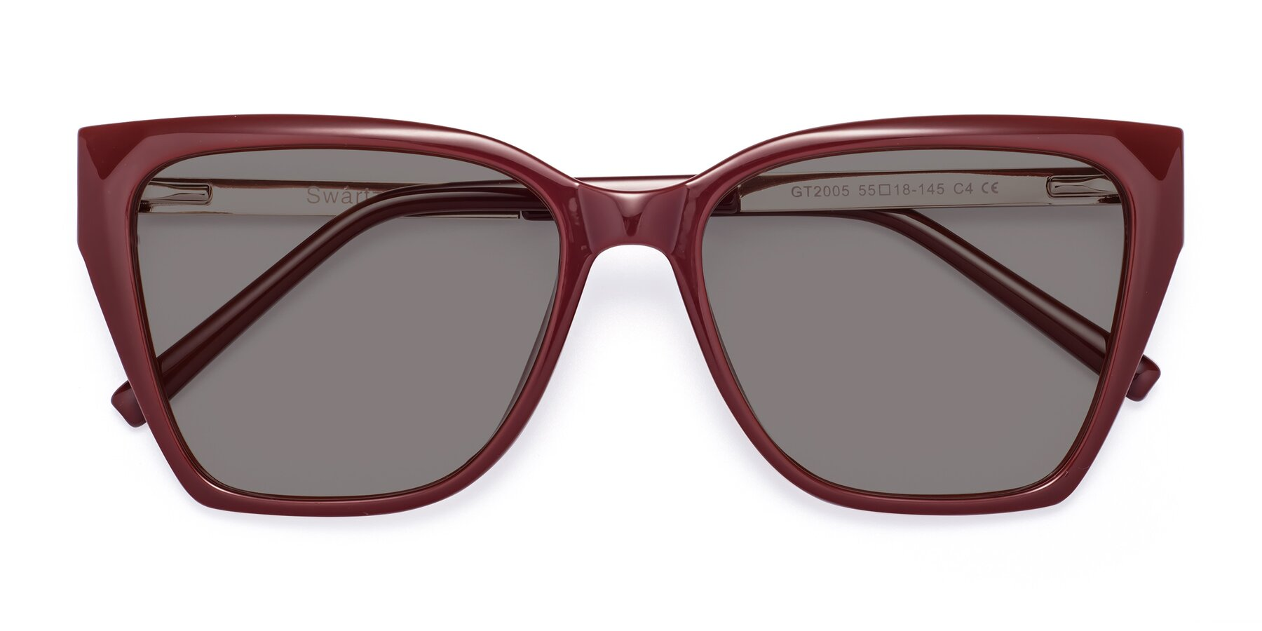 Folded Front of Swartz in Wine with Medium Gray Tinted Lenses
