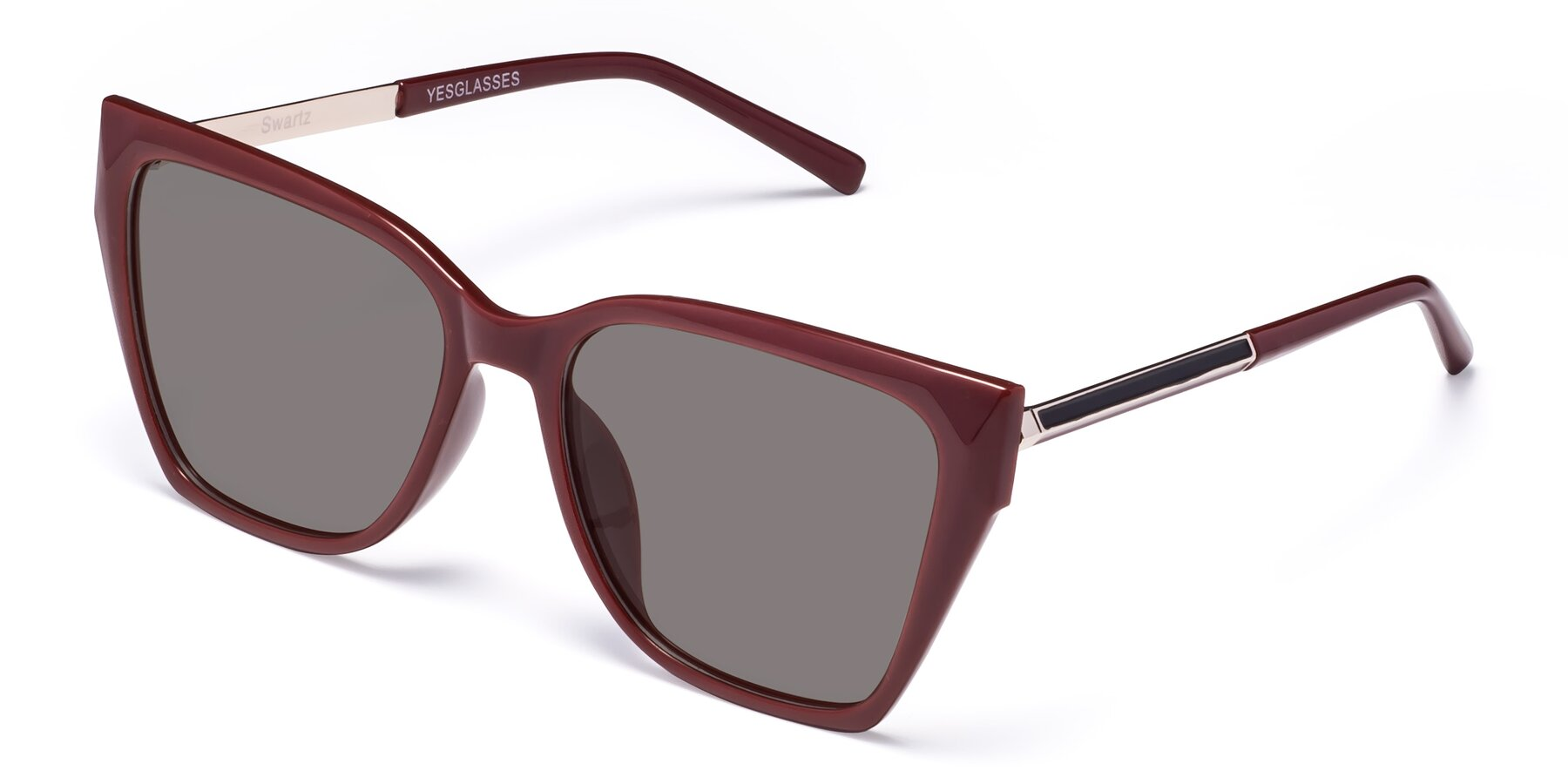 Angle of Swartz in Wine with Medium Gray Tinted Lenses