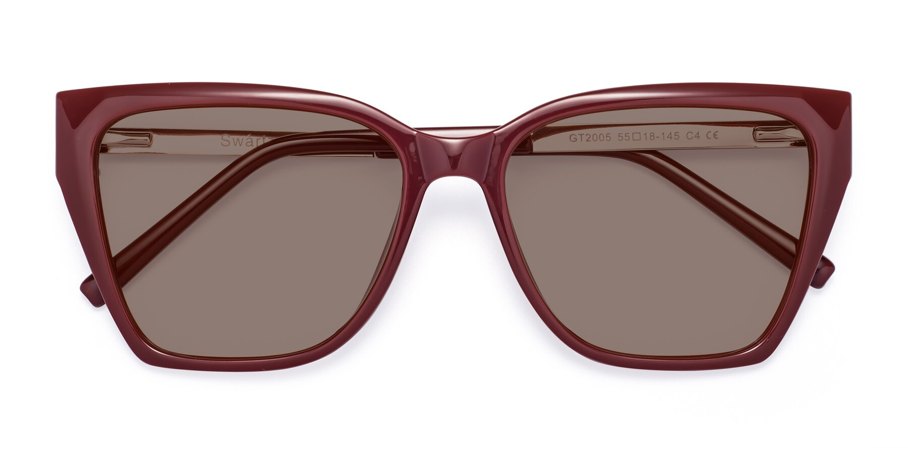 Folded Front of Swartz in Wine with Medium Brown Tinted Lenses