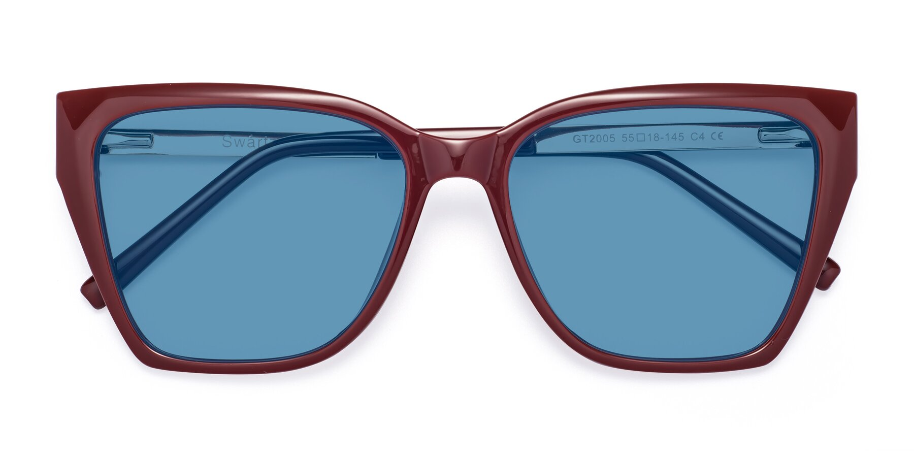Folded Front of Swartz in Wine with Medium Blue Tinted Lenses