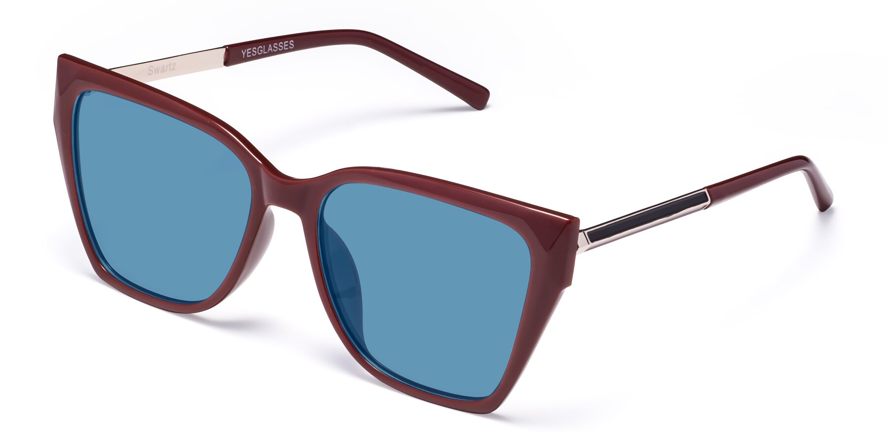 Angle of Swartz in Wine with Medium Blue Tinted Lenses