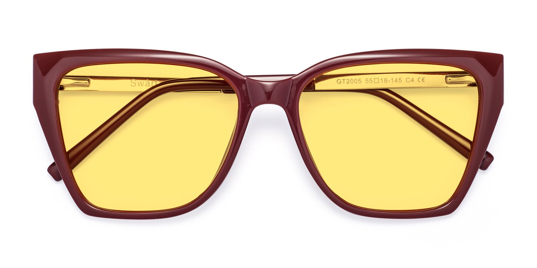 Folded Front of Swartz in Wine with Medium Yellow Tinted Lenses