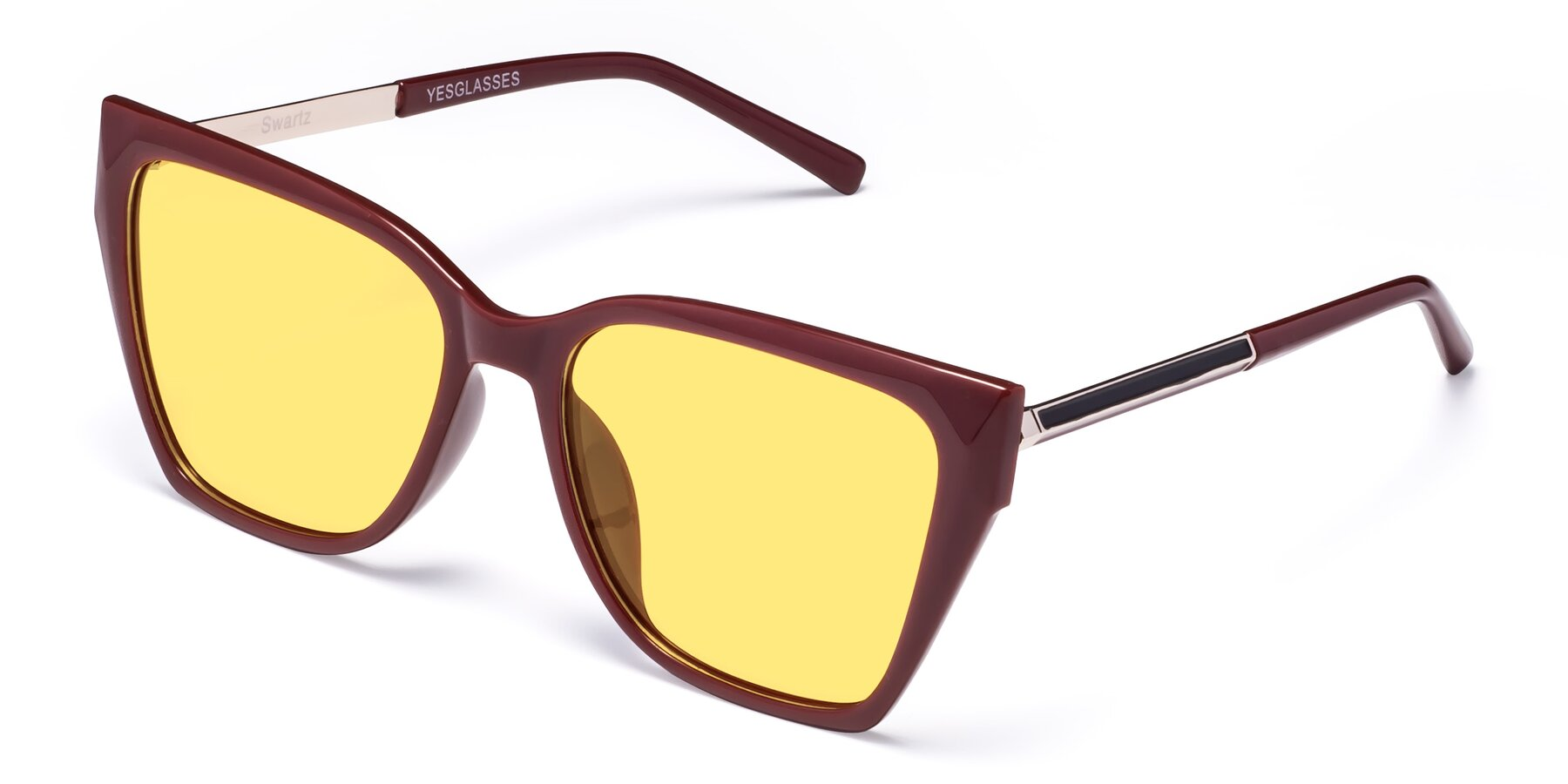Angle of Swartz in Wine with Medium Yellow Tinted Lenses