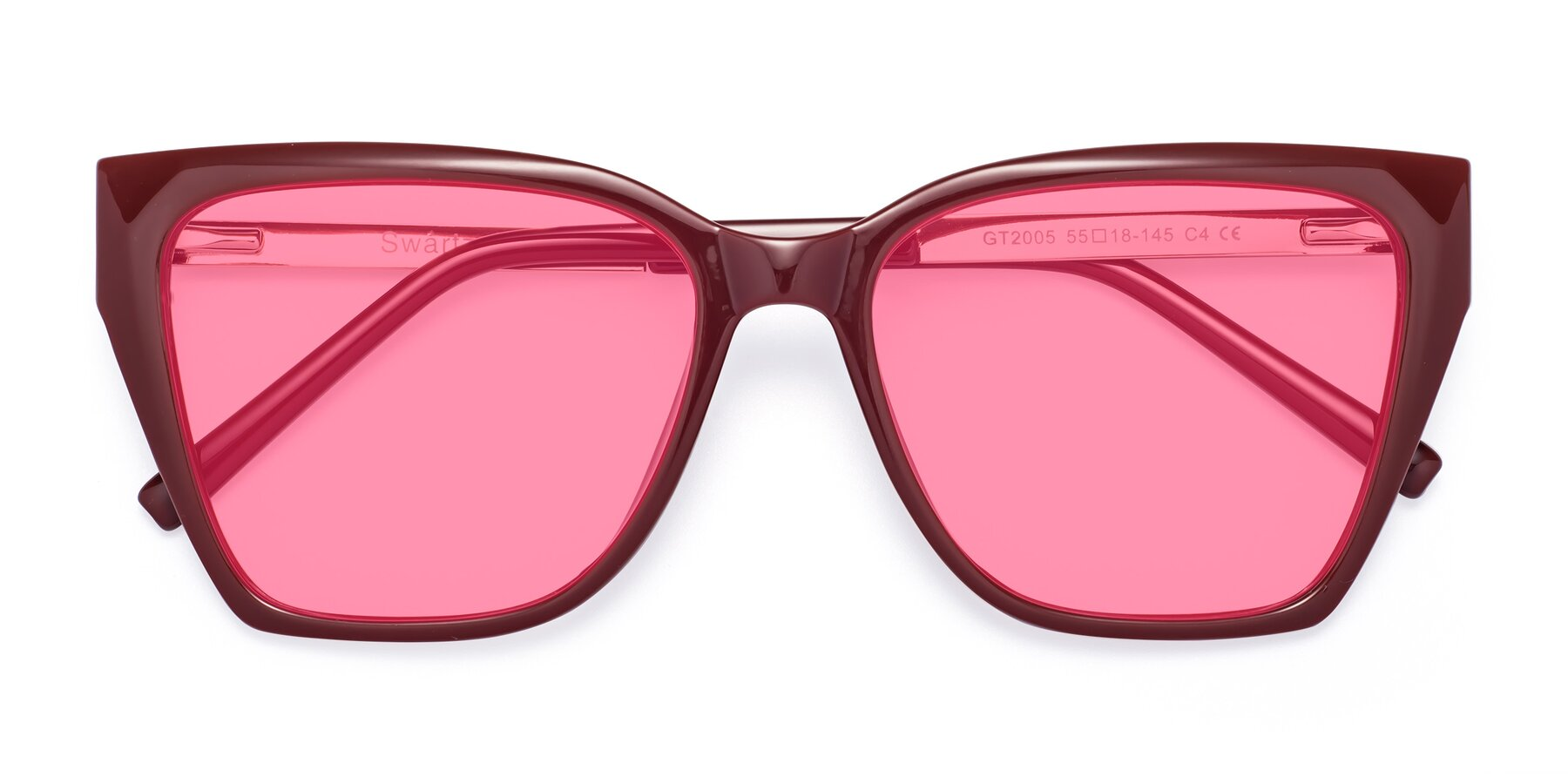 Folded Front of Swartz in Wine with Pink Tinted Lenses
