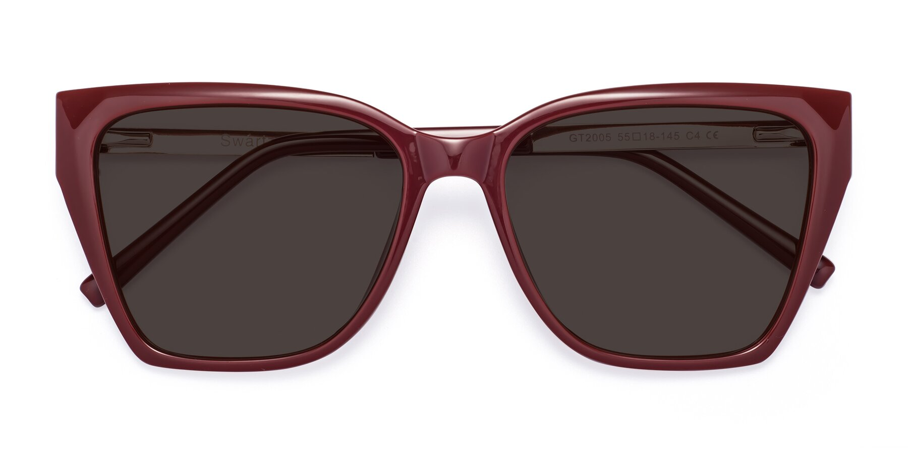 Folded Front of Swartz in Wine with Gray Tinted Lenses