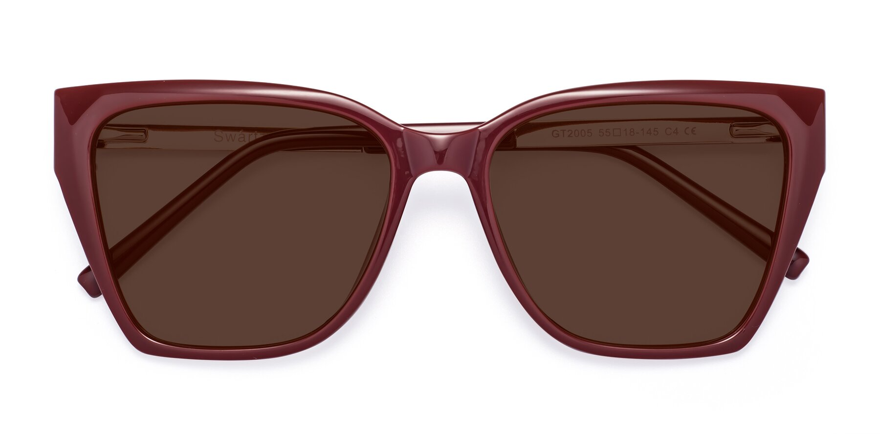 Folded Front of Swartz in Wine with Brown Tinted Lenses