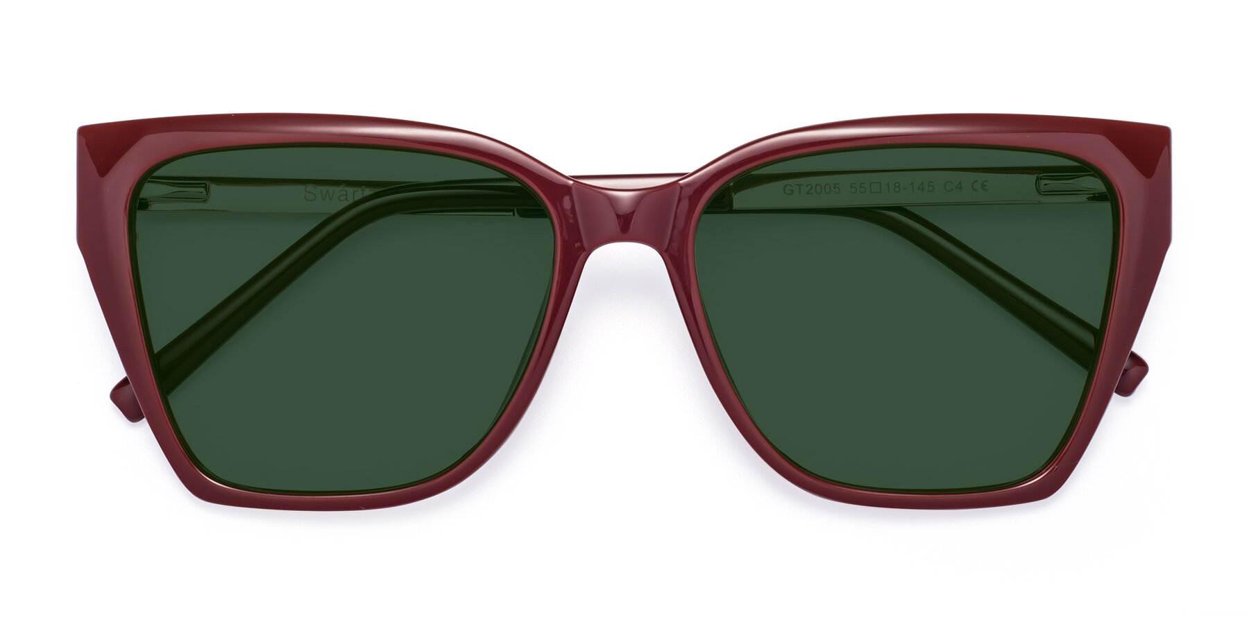 Folded Front of Swartz in Wine with Green Tinted Lenses