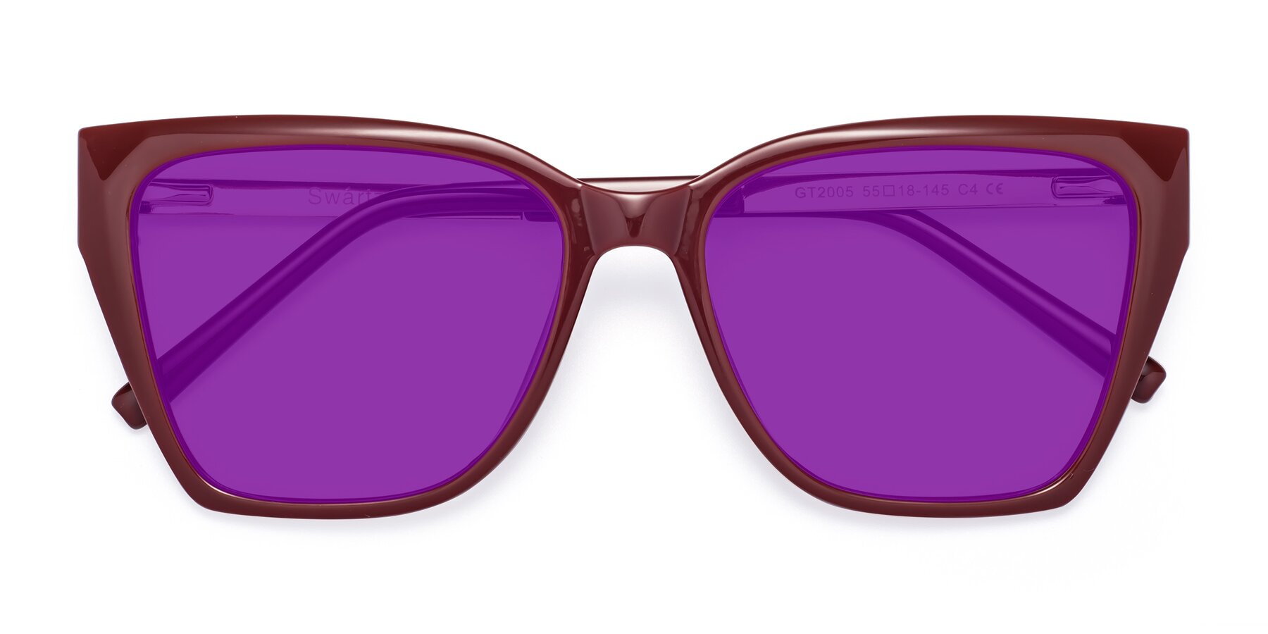 Folded Front of Swartz in Wine with Purple Tinted Lenses