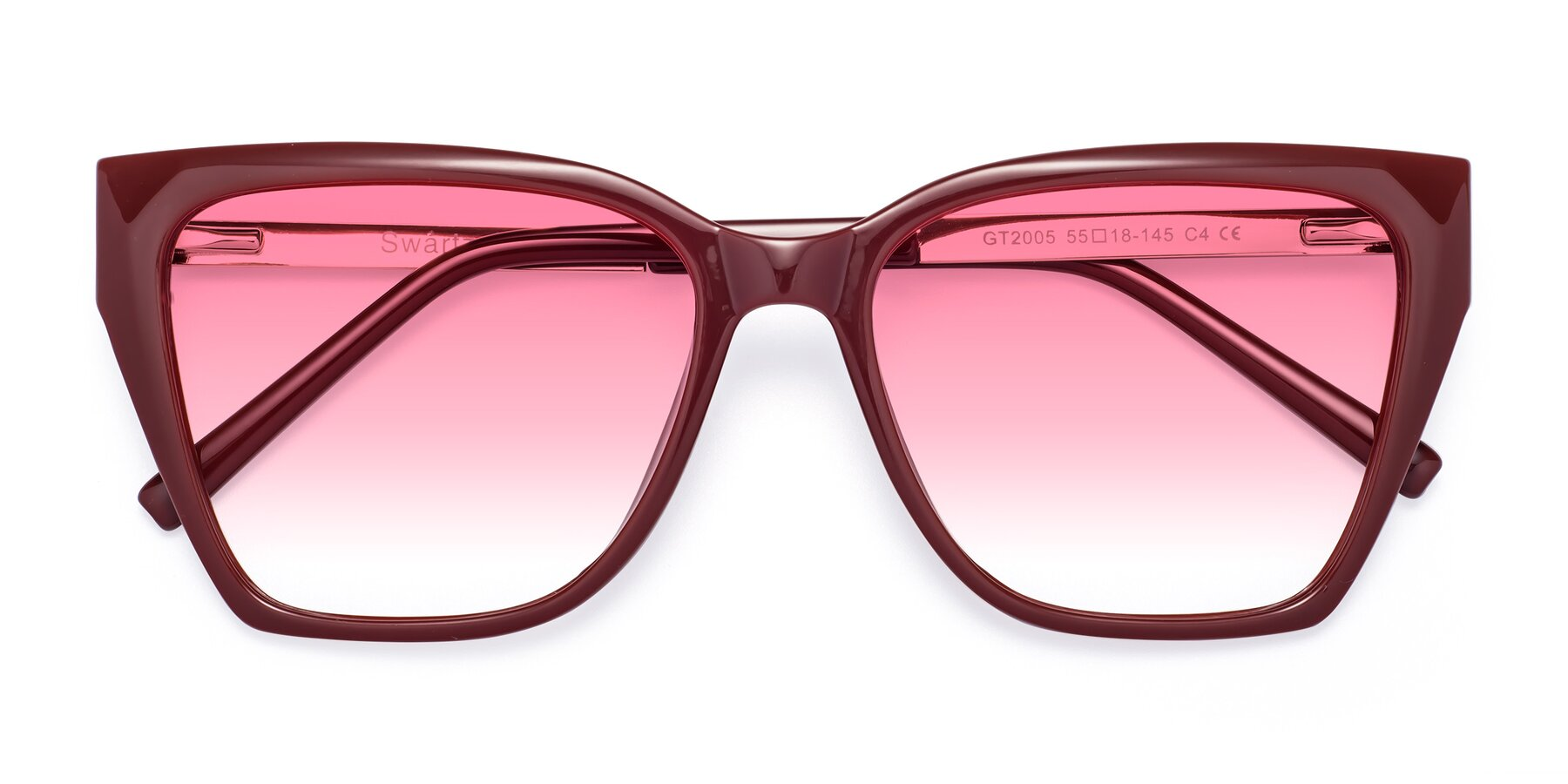 Folded Front of Swartz in Wine with Pink Gradient Lenses