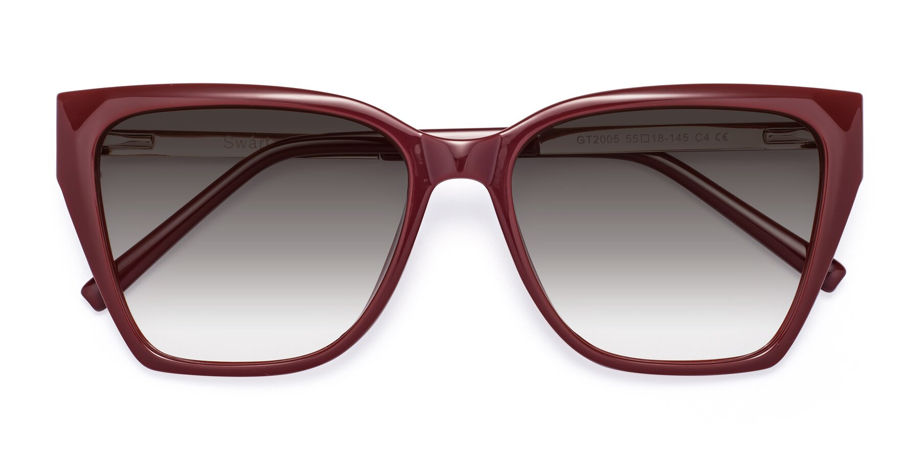 Folded Front of Swartz in Wine with Gray Gradient Lenses