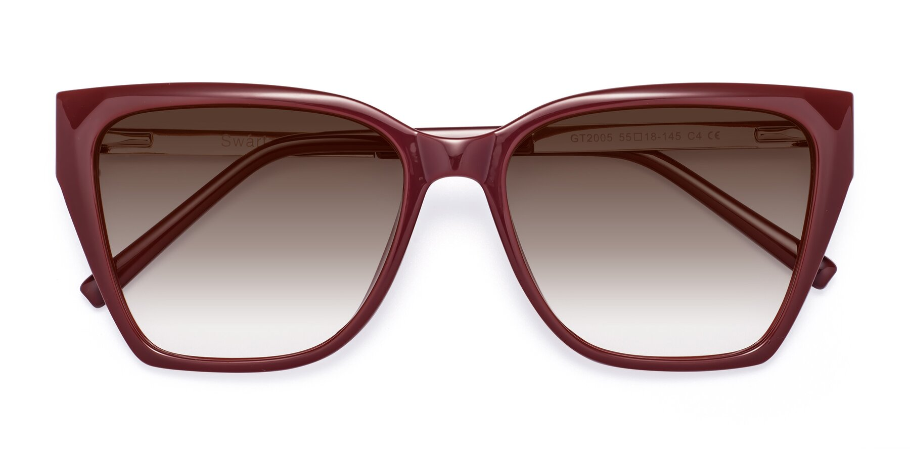 Folded Front of Swartz in Wine with Brown Gradient Lenses