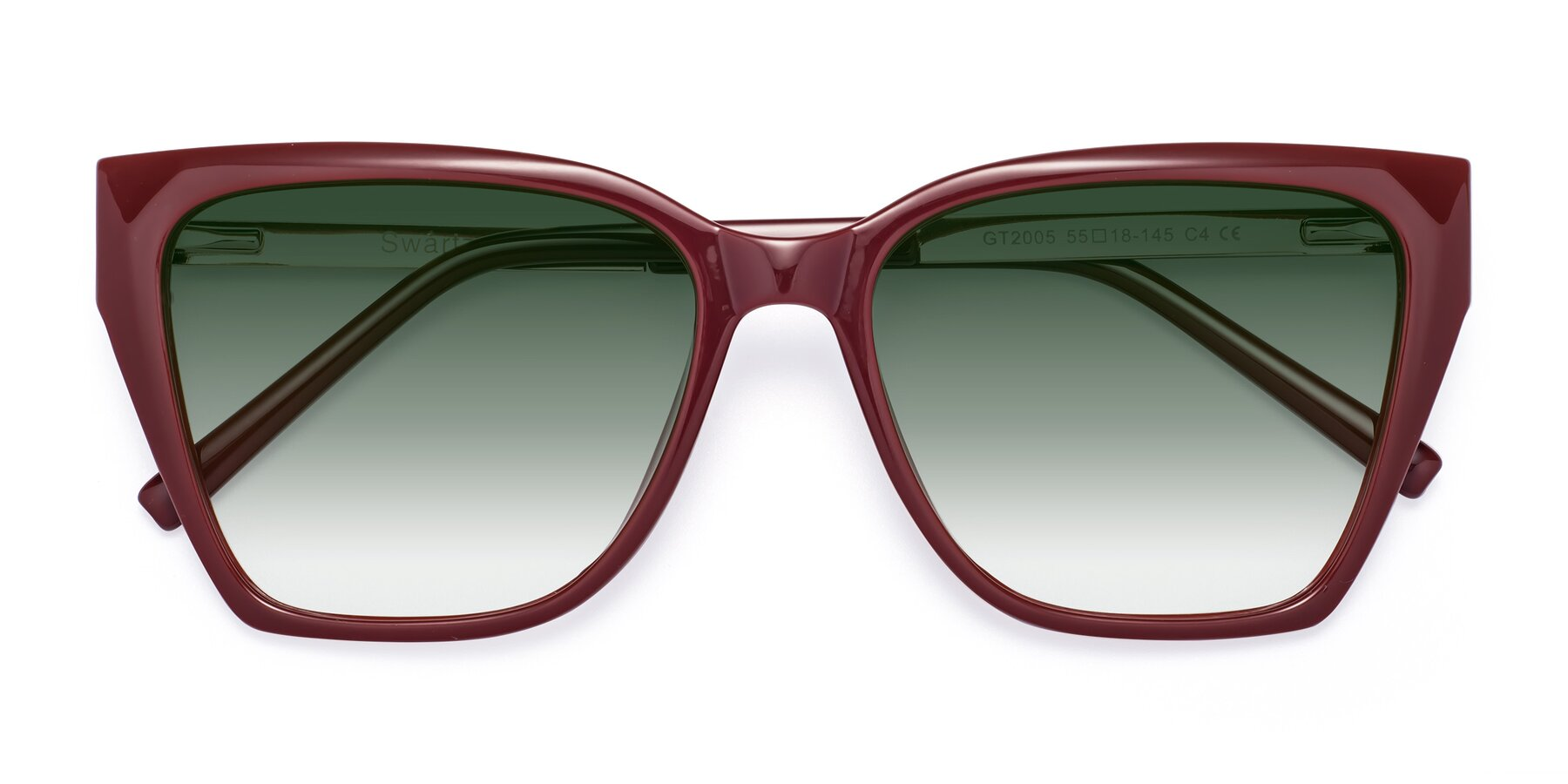 Folded Front of Swartz in Wine with Green Gradient Lenses