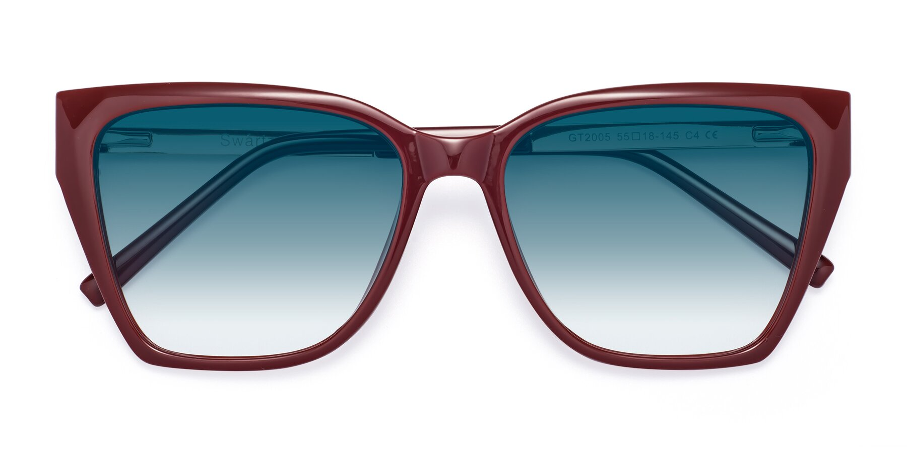 Folded Front of Swartz in Wine with Blue Gradient Lenses