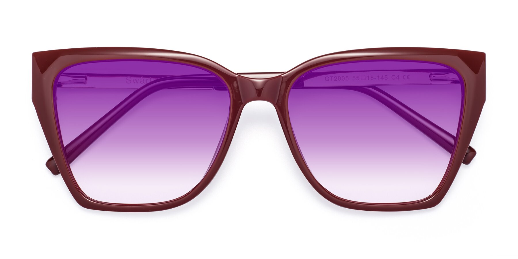 Folded Front of Swartz in Wine with Purple Gradient Lenses