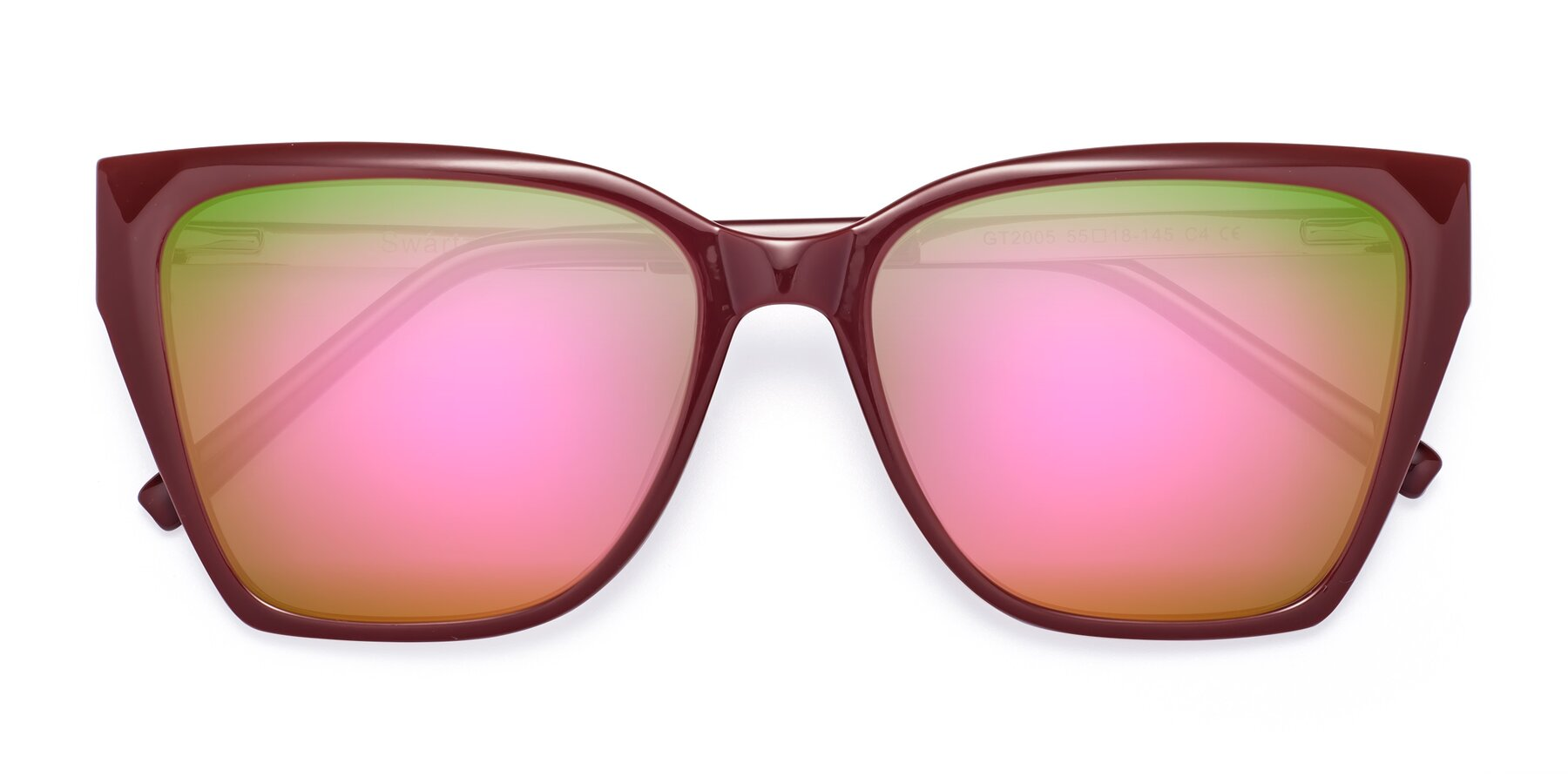 Folded Front of Swartz in Wine with Pink Mirrored Lenses
