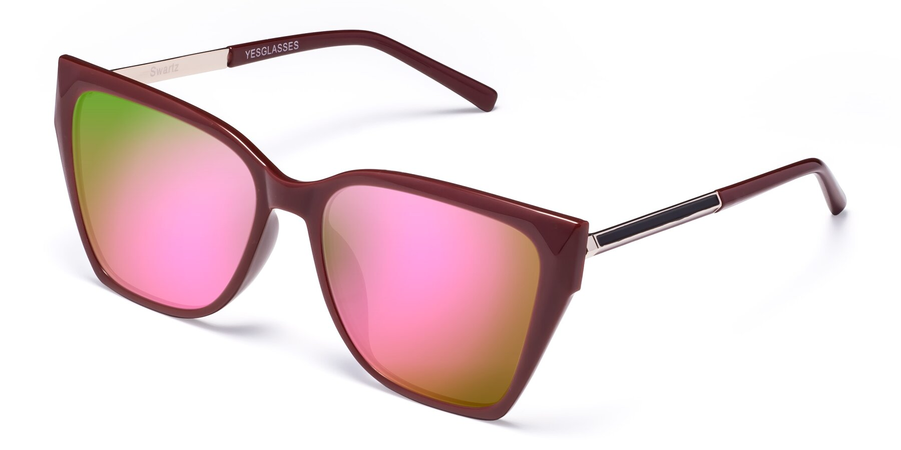 Angle of Swartz in Wine with Pink Mirrored Lenses