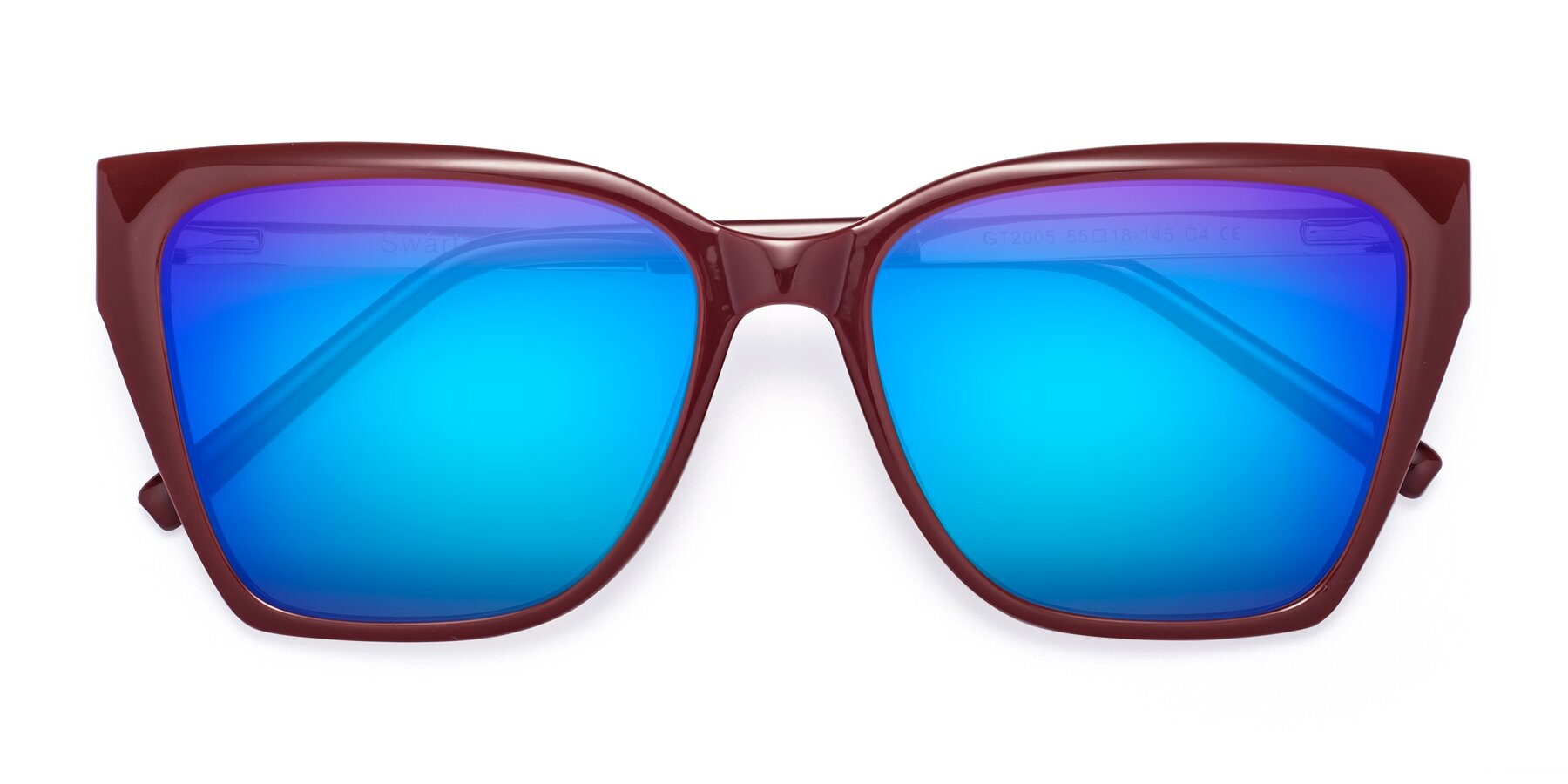 Folded Front of Swartz in Wine with Blue Mirrored Lenses