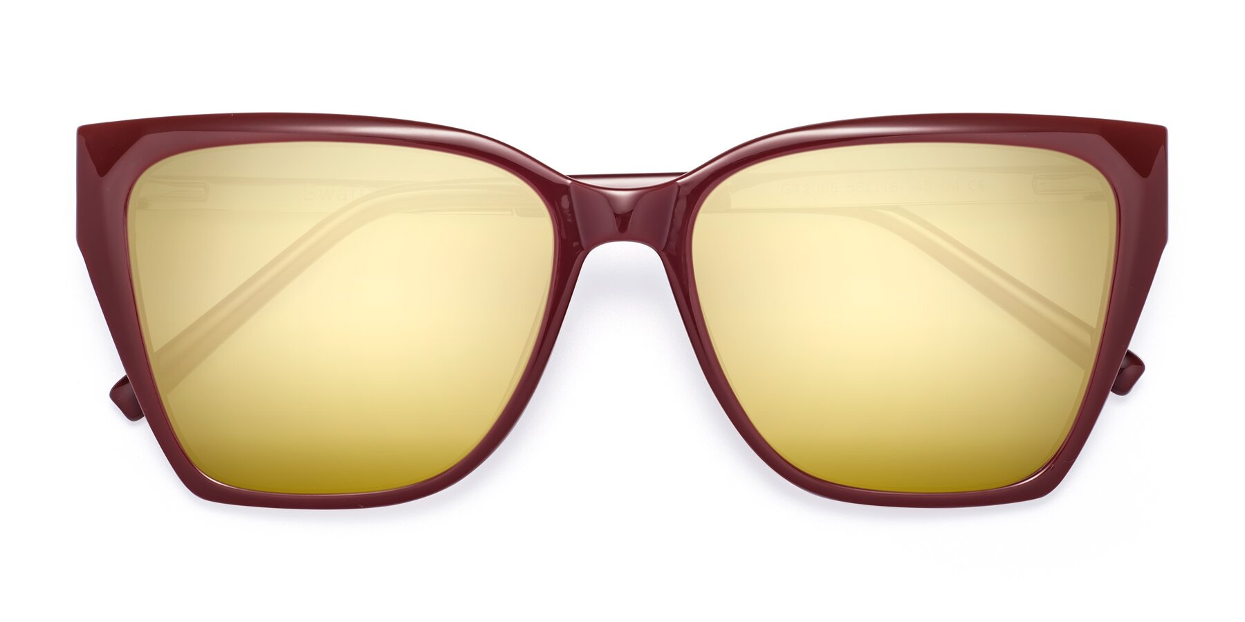 Folded Front of Swartz in Wine with Gold Mirrored Lenses
