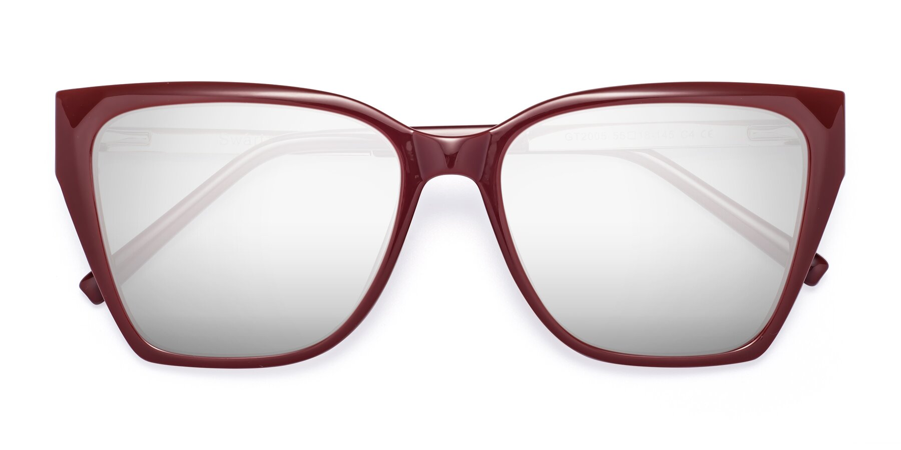 Folded Front of Swartz in Wine with Silver Mirrored Lenses