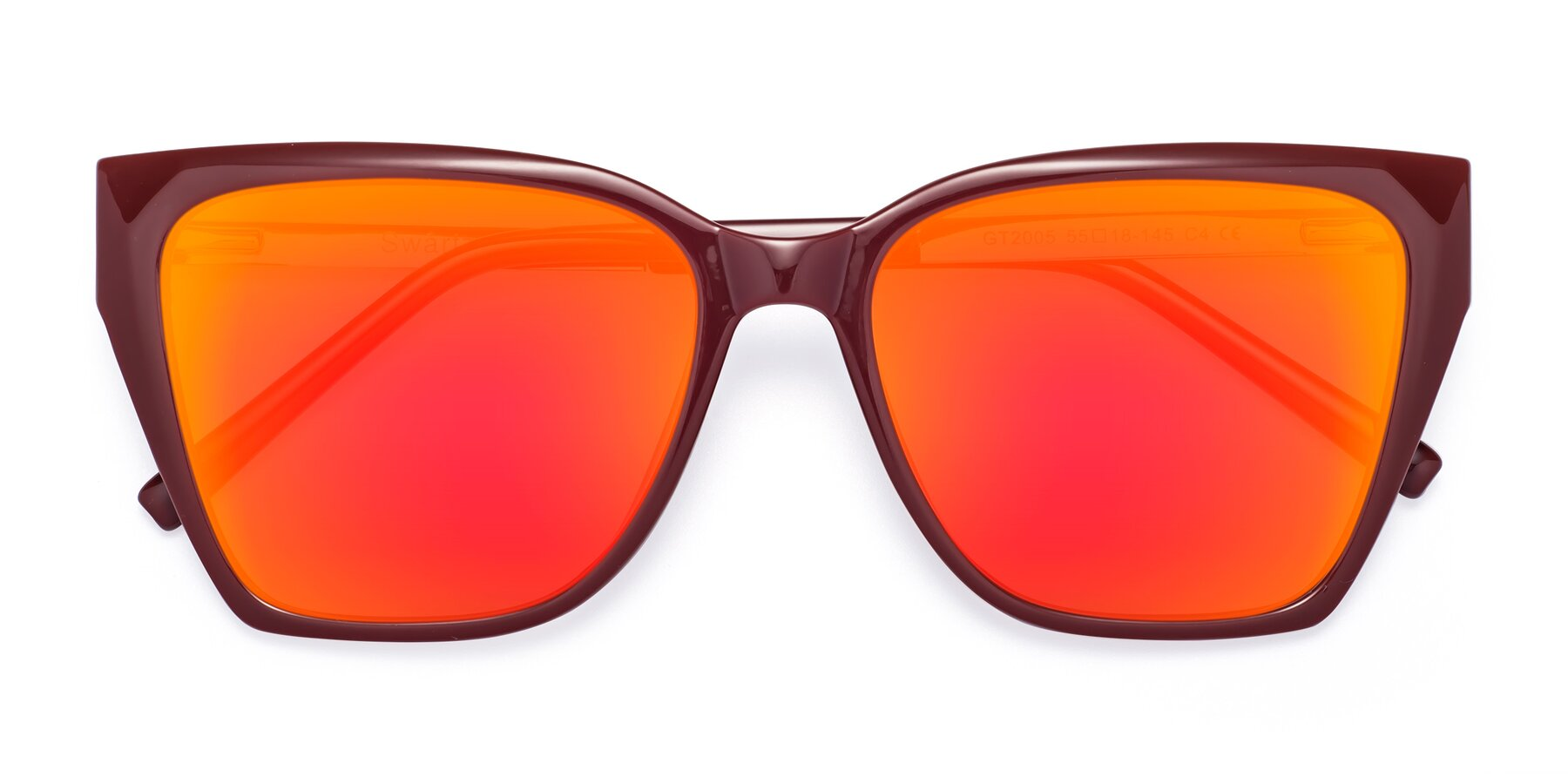 Folded Front of Swartz in Wine with Red Gold Mirrored Lenses