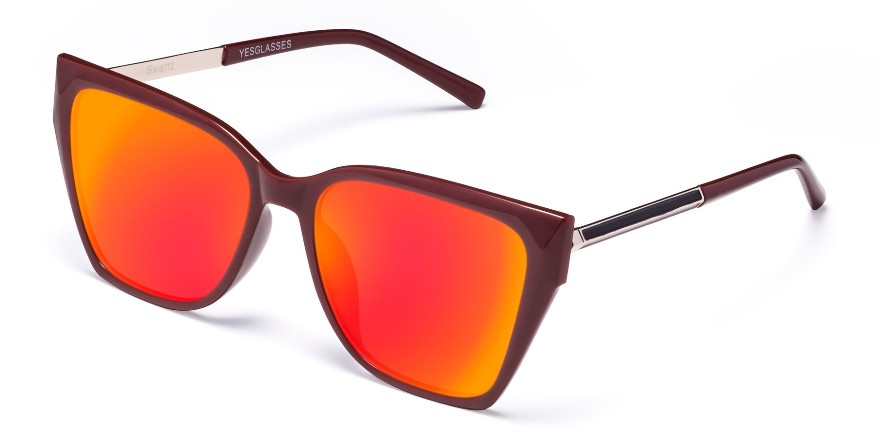 Angle of Swartz in Wine with Red Gold Mirrored Lenses
