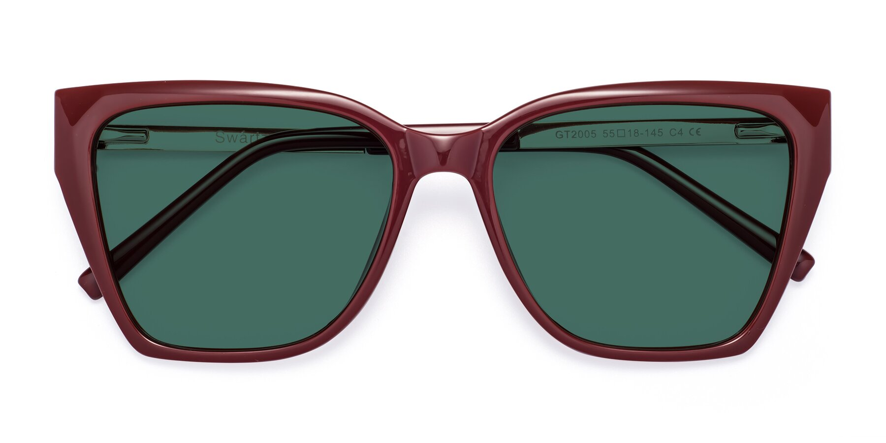 Folded Front of Swartz in Wine with Green Polarized Lenses