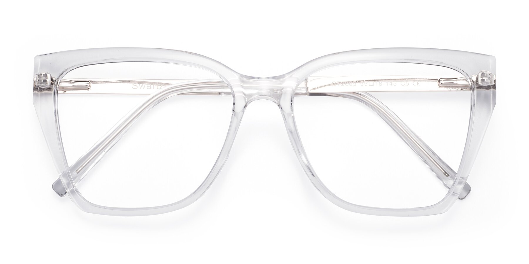 Folded Front of Swartz in Clear with Clear Blue Light Blocking Lenses