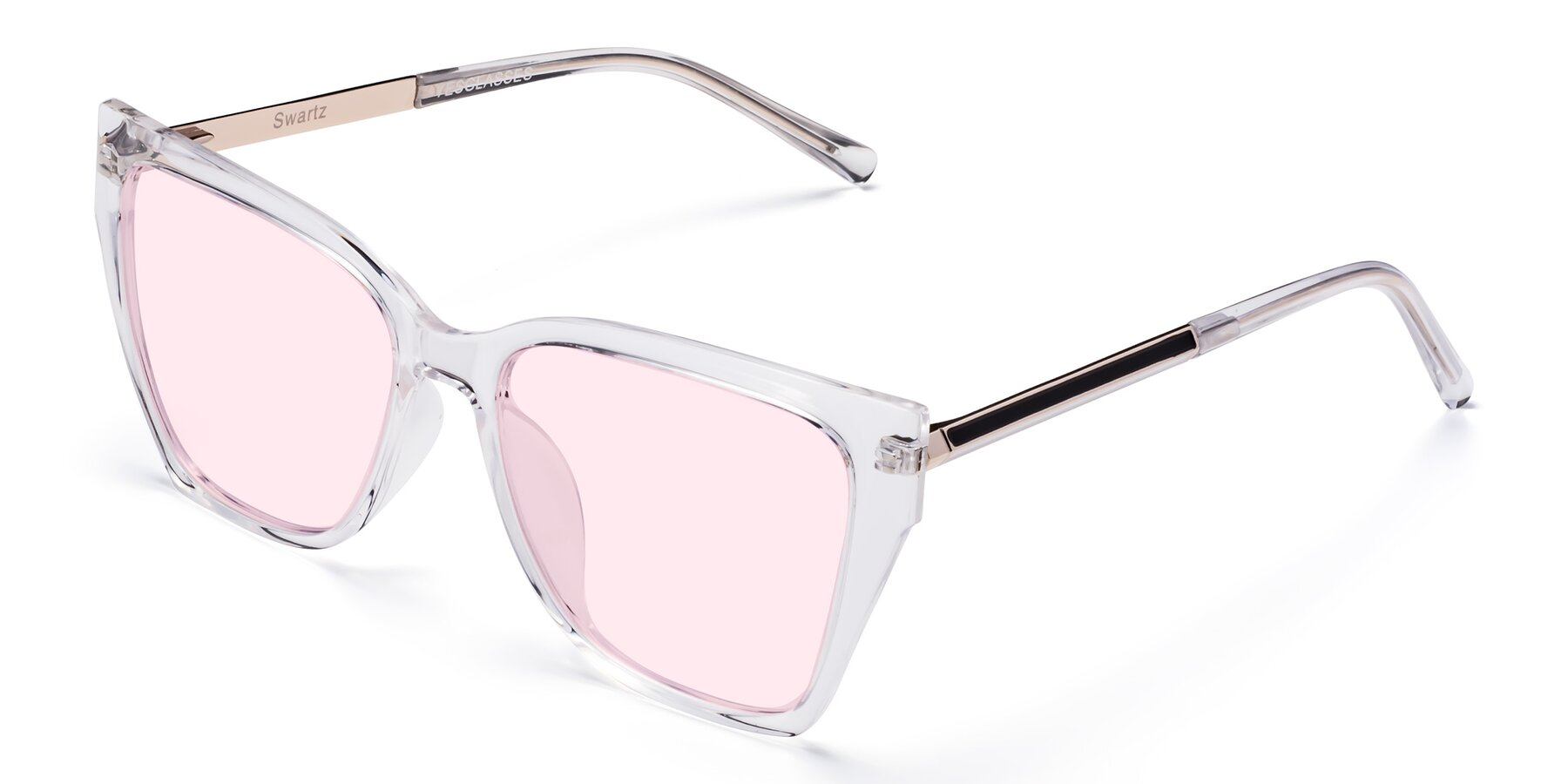 Angle of Swartz in Clear with Light Pink Tinted Lenses
