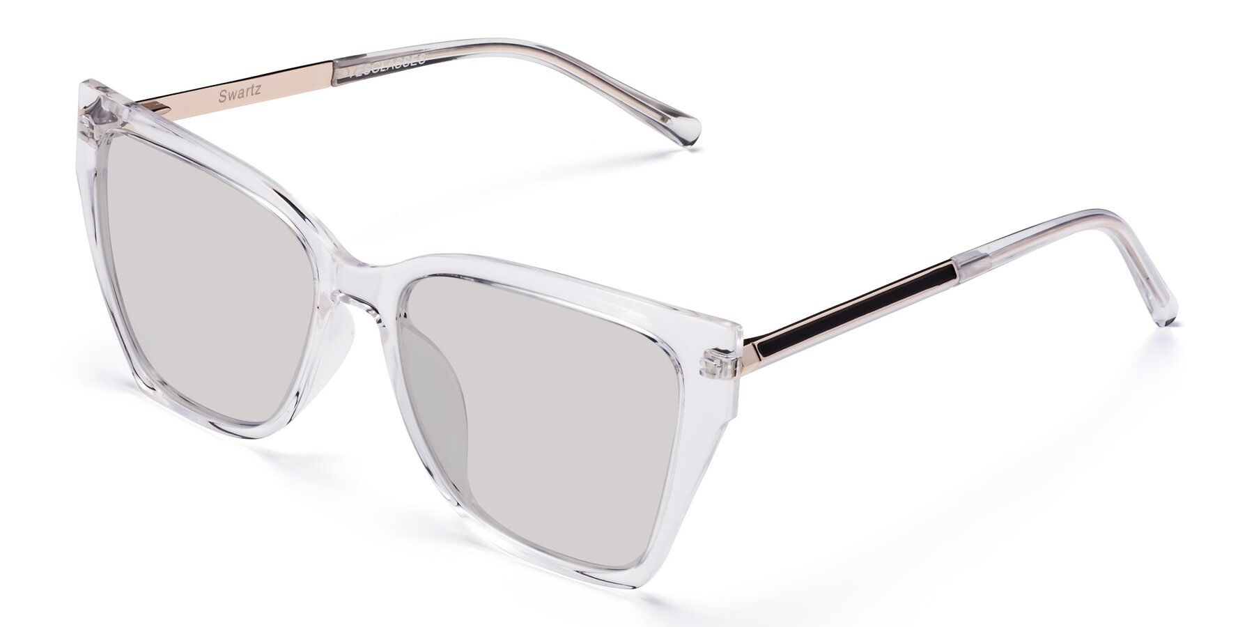 Angle of Swartz in Clear with Light Gray Tinted Lenses