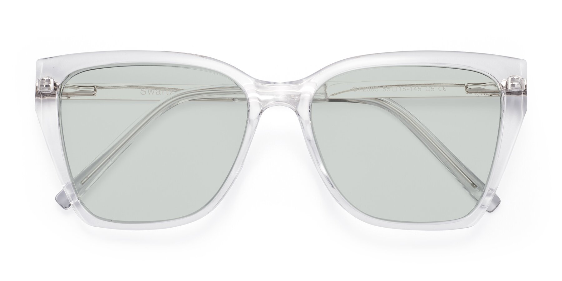 Folded Front of Swartz in Clear with Light Green Tinted Lenses