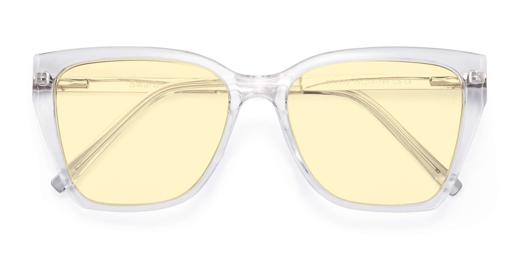 Folded Front of Swartz in Clear with Light Yellow Tinted Lenses
