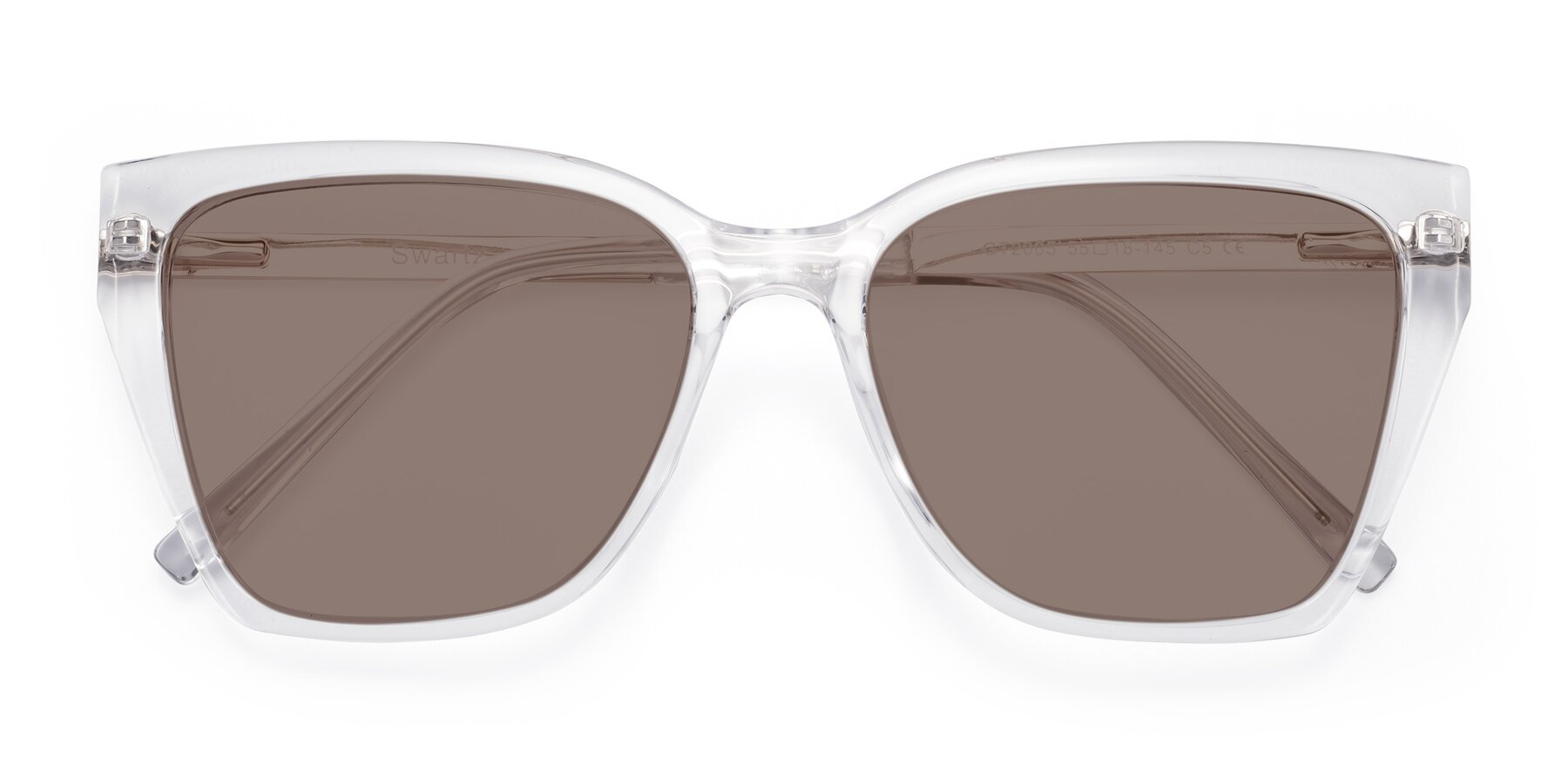 Folded Front of Swartz in Clear with Medium Brown Tinted Lenses