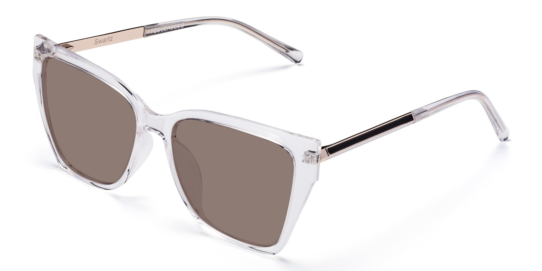 Angle of Swartz in Clear with Medium Brown Tinted Lenses