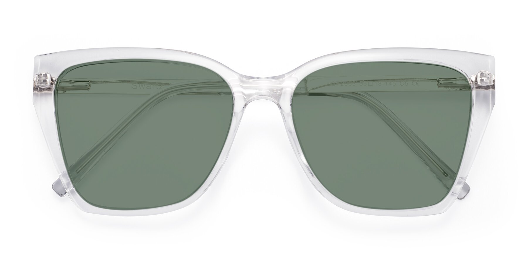 Folded Front of Swartz in Clear with Medium Green Tinted Lenses