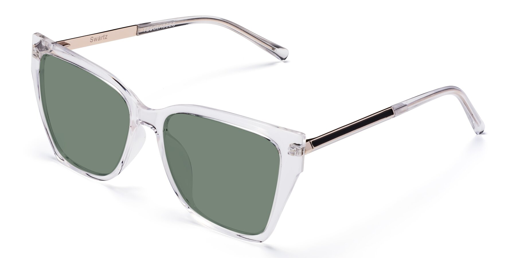 Angle of Swartz in Clear with Medium Green Tinted Lenses