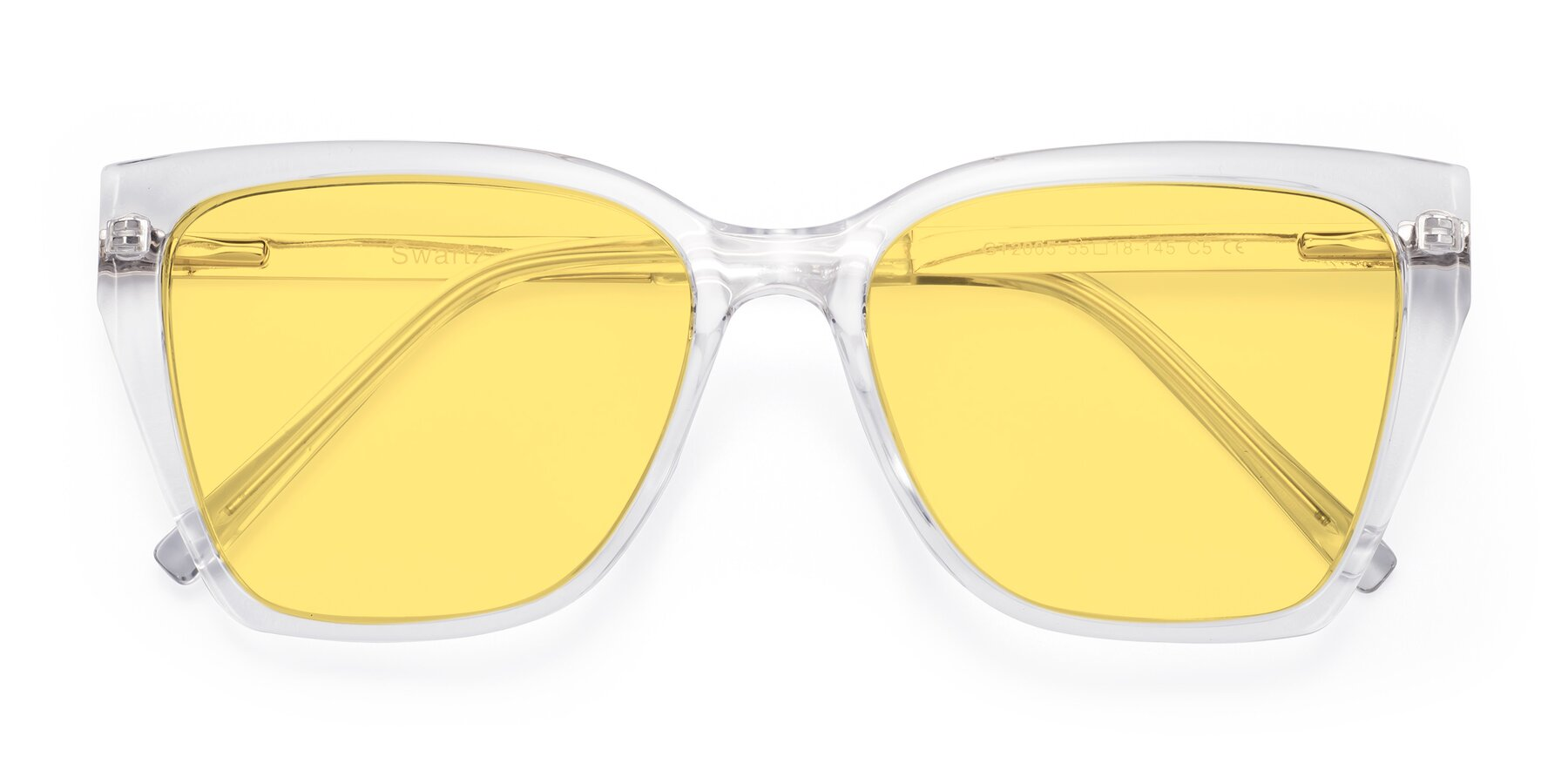 Folded Front of Swartz in Clear with Medium Yellow Tinted Lenses