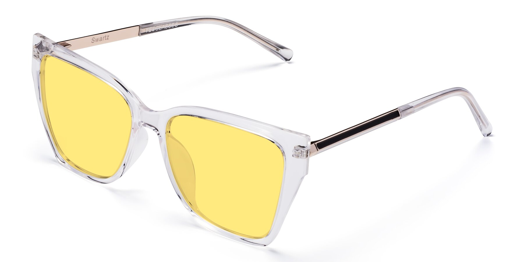 Angle of Swartz in Clear with Medium Yellow Tinted Lenses