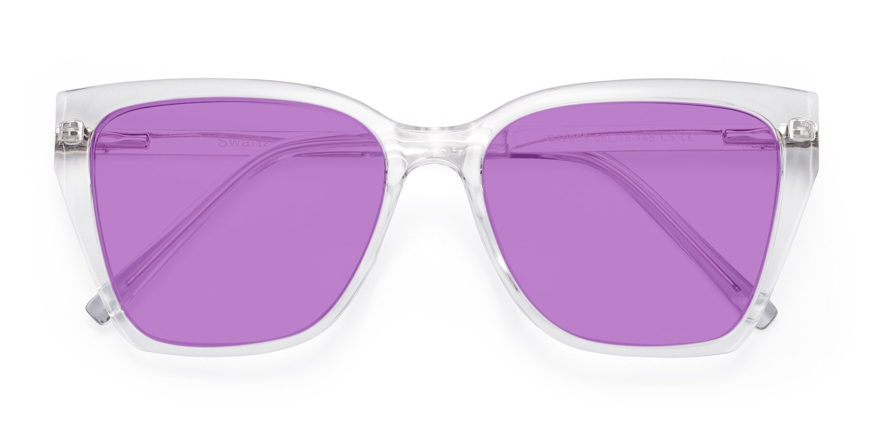 Folded Front of Swartz in Clear with Medium Purple Tinted Lenses