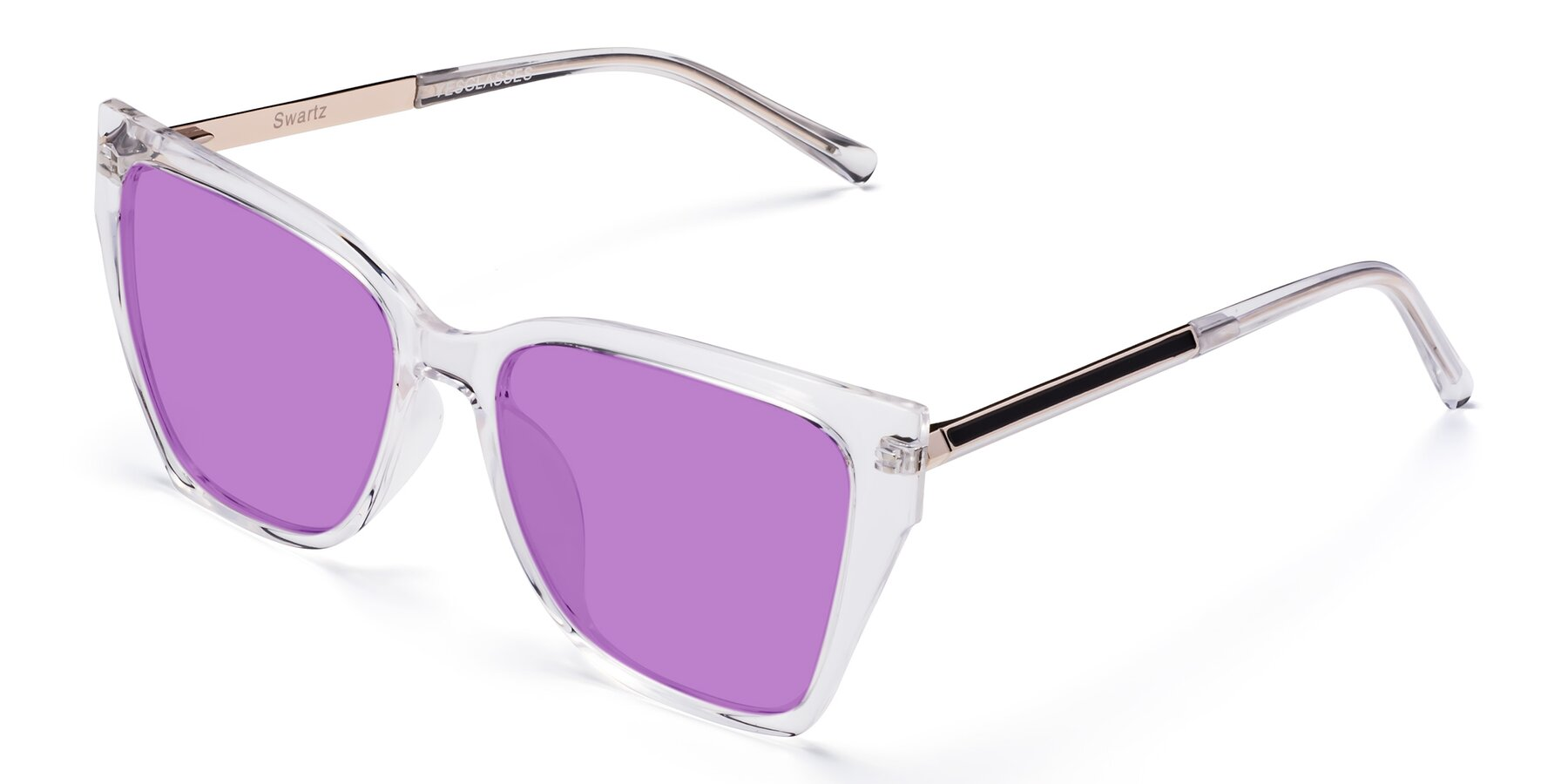 Angle of Swartz in Clear with Medium Purple Tinted Lenses